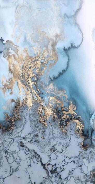 patine bleu or-élément Eau